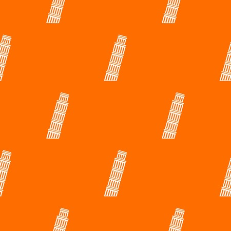 Tower of Pisa pattern repeat seamless in orange color for any design. Vector geometric illustration Illustration