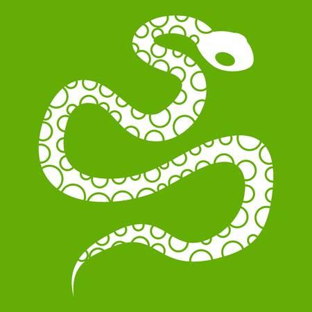 python skin: Python snake icon white isolated on green background. Vector illustration Illustration