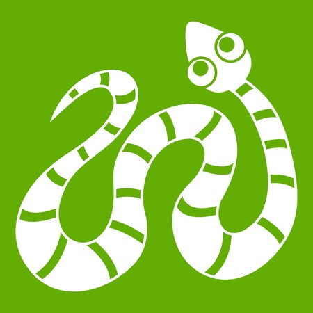 Black striped snake icon white isolated on green background. Vector illustration