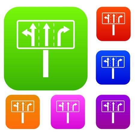 pistes de trafic à carrefour jonction illustration de l & # 39 ; icône dans différentes couleurs isolées set. collection différente