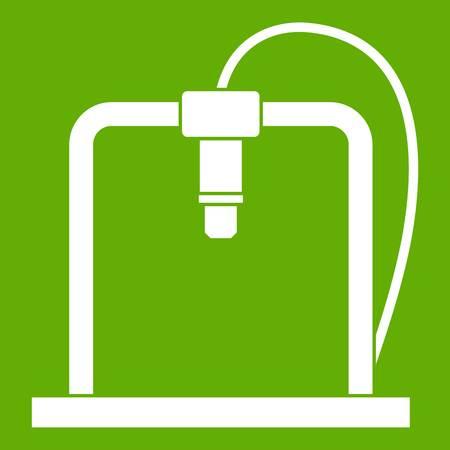 3D printer frame icon white isolated on green background. Vector illustration Illustration