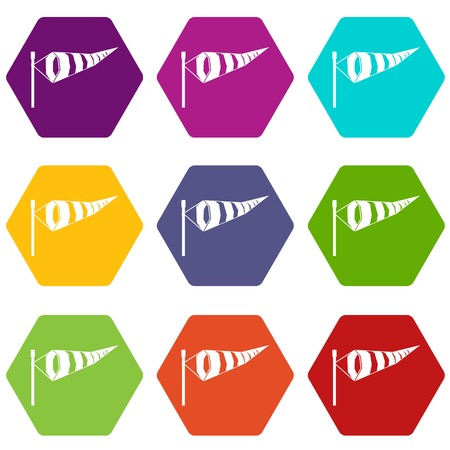 meteorologist: Windsock icon set many color hexahedron isolated on white vector illustration