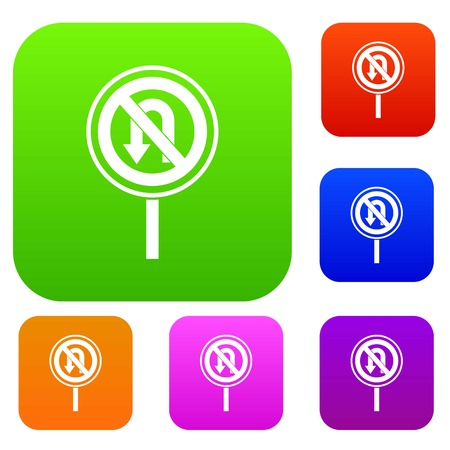 No U turn road sign set icon in different colors isolated vector illustration. Premium collection
