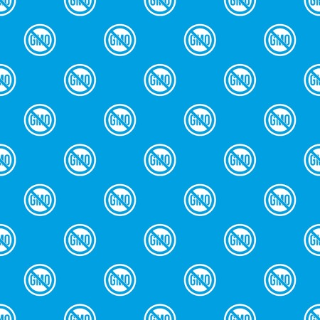 genetic modification: Stop GMO pattern repeat seamless in blue color for any design. Vector geometric illustration