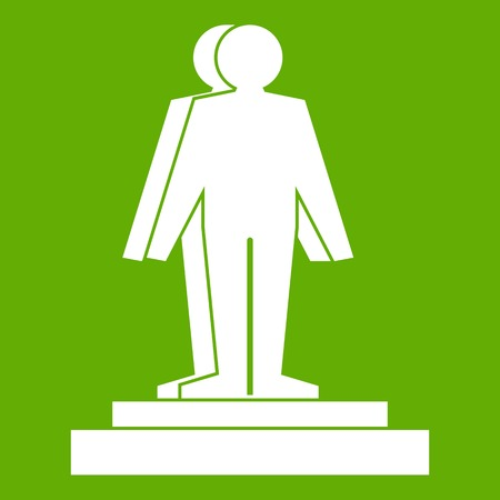 screen printing: 3d model of a man icon white isolated on green background. Vector illustration