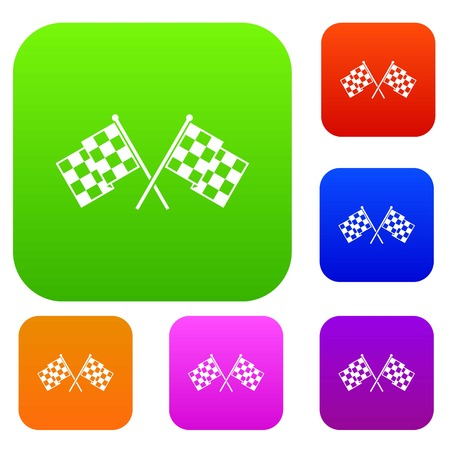 Checkered racing flags set icon in different colors isolated vector illustration. Premium collection