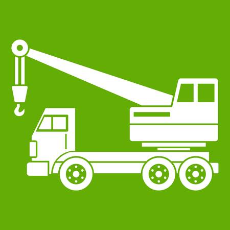 Truck crane icon white isolated on green background. Vector illustration