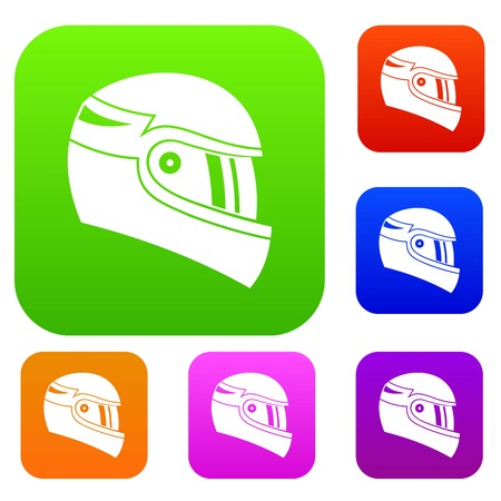 racing sign: Racing helmet set icon in different colors isolated vector illustration. Premium collection Illustration
