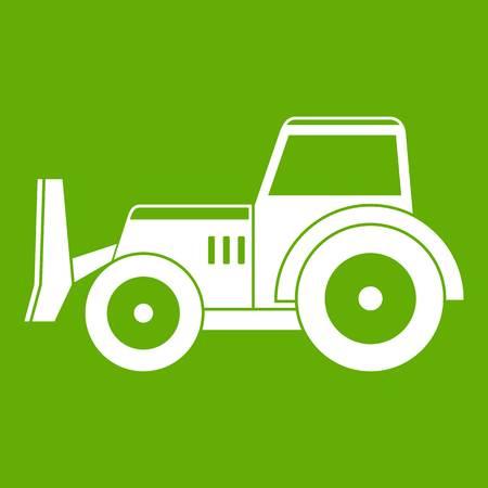 Skid steer loader bulldozer icon white isolated on green background. Vector illustration Illustration