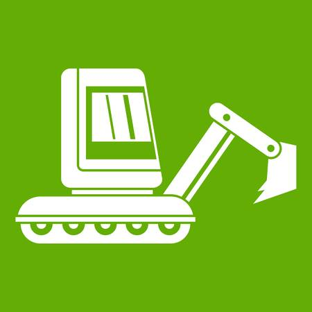 Mini excavator icon white isolated on green background. Vector illustration Illustration