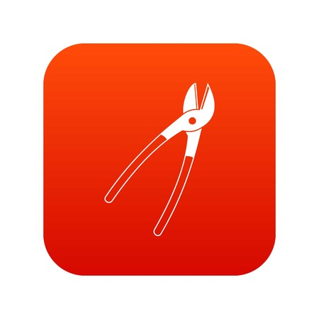 Metal shears icon digital red for any design isolated on white vector illustration Illustration