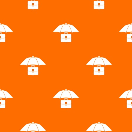insured: Umbrella and business case pattern repeat seamless in orange color for any design. Vector geometric illustration Illustration