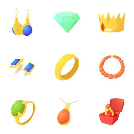 King jewelry icons set. Cartoon set of 9 king jewelry vector icons for web isolated on white background