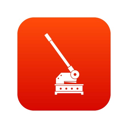 Cutting machine icon digital red for any design isolated on white vector illustration