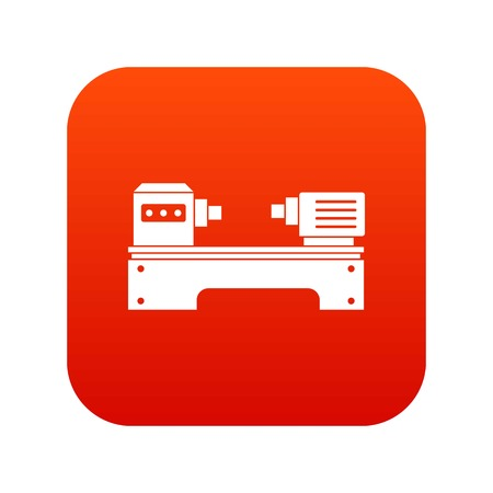 Lathe machine icon digital red for any design isolated on white vector illustration