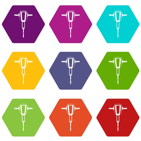 Pneumatic plugger hammer icon set color hexahedron Illustration