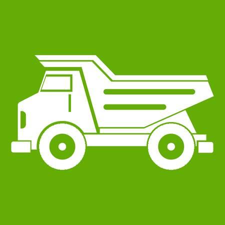Dump truck icon white isolated on green background. Vector illustration Illustration