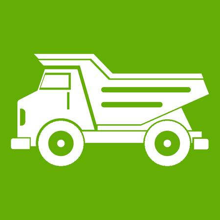 Dump truck icon white isolated on green background. Vector illustration Illustration