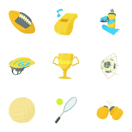 Sport icons set. Cartoon set of 9 sport vector icons for web isolated on white background