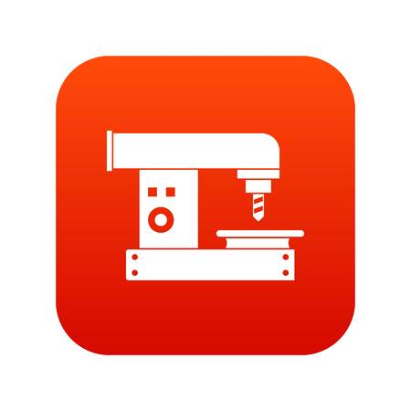 steel mill: Drilling machine icon digital red for any design isolated on white vector illustration