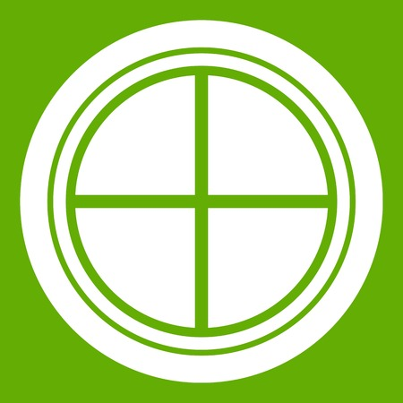 casement: White round window icon white isolated on green background. Vector illustration