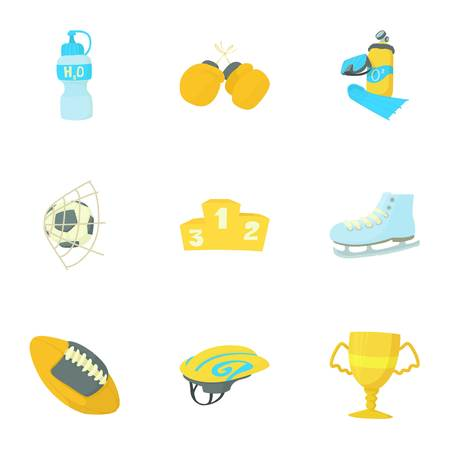 Sport equipment icons set. Cartoon set of 9 sport equipment vector icons for web isolated on white background
