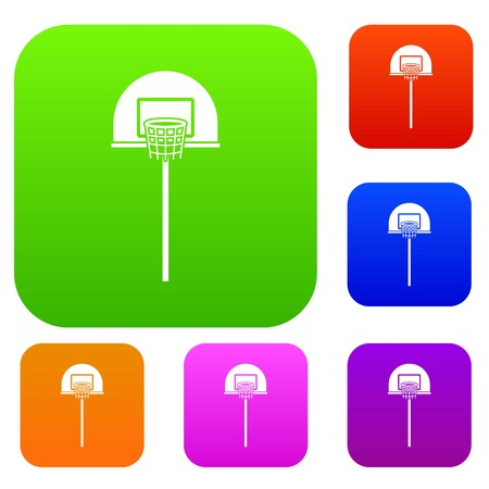 rim: Street basketball hoop set icon in different colors isolated vector illustration. Premium collection