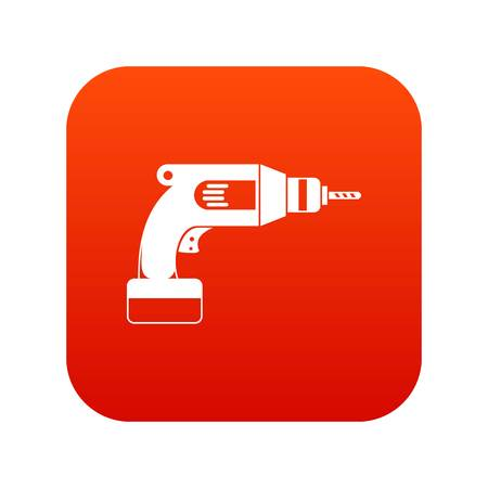 Drill icon digital red for any design isolated on white vector illustration 일러스트