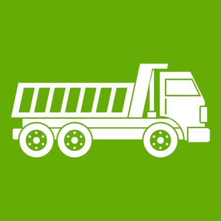 Dumper truck icon white isolated on green background. Vector illustration Illustration