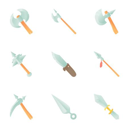 warriors: Medieval weapon icons set. Cartoon set of 9 medieval weapon vector icons for web isolated on white background