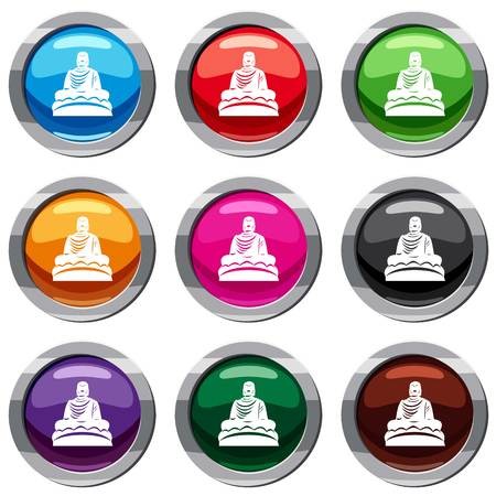 Buddha statue set icon isolated on white. 9 icon collection vector illustration