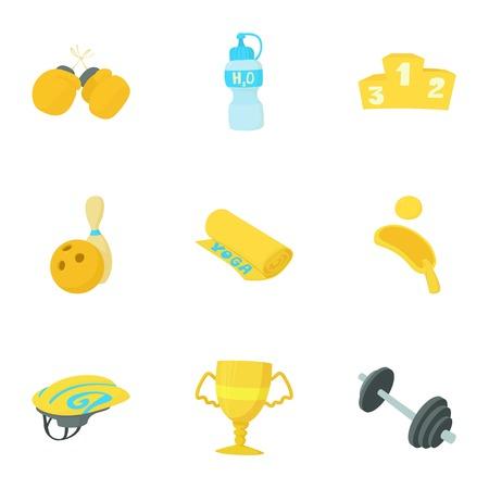 Gym icons set, cartoon style vector illustration.