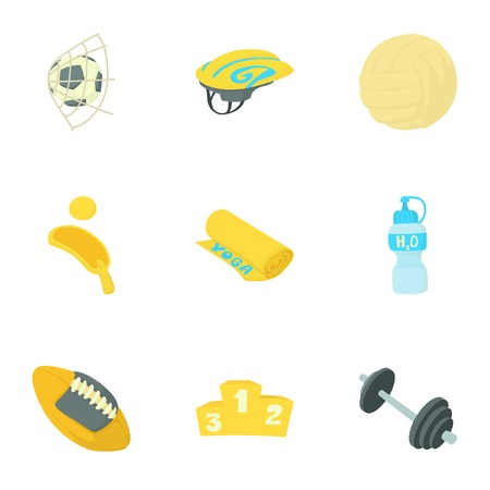 kingpin: Sport things icons set, cartoon style Illustration