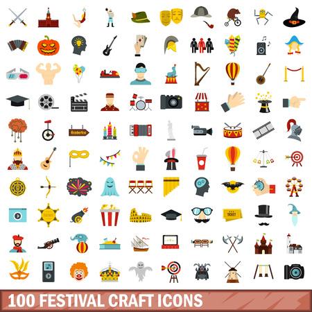 100 festival craft icons set, flat style