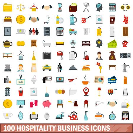 100 hospitality business icons set, flat style Stock Illustratie