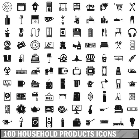 100 household products icons set, simple style