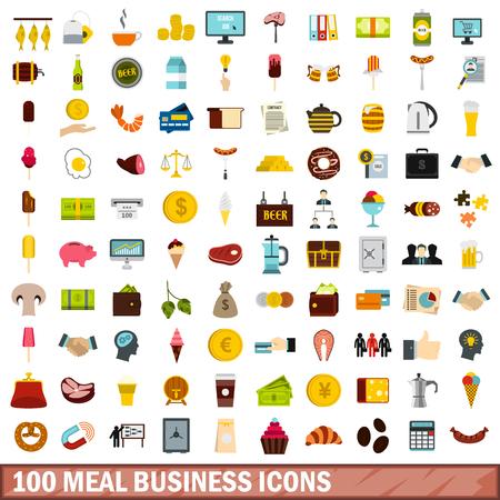 pretzel: 100 meal business icons set, flat style