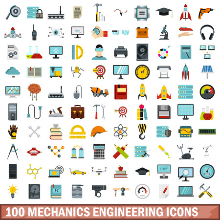 100 mechanics engineering icons set, flat style