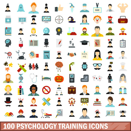 100 psychology training icons set, flat style