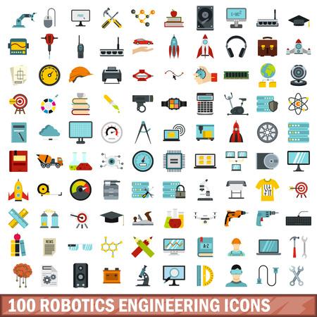 100 robotics engineering icons set, flat style