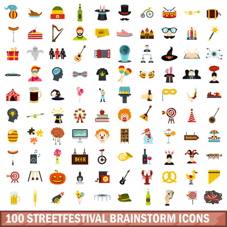 100 streetfestival brainstorm icons set, flat style 版權商用圖片 - 85069858