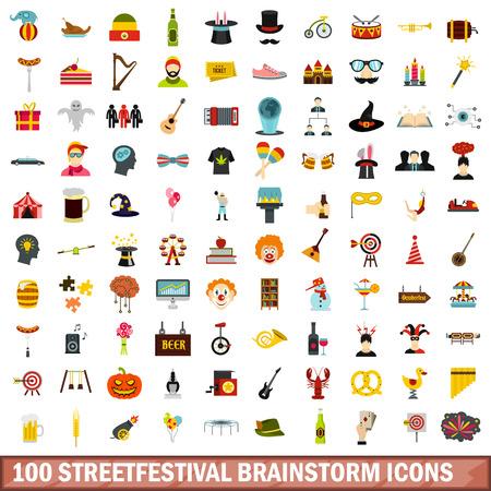100 Streetfestival Brainstorming Icons Set, flachen Stil