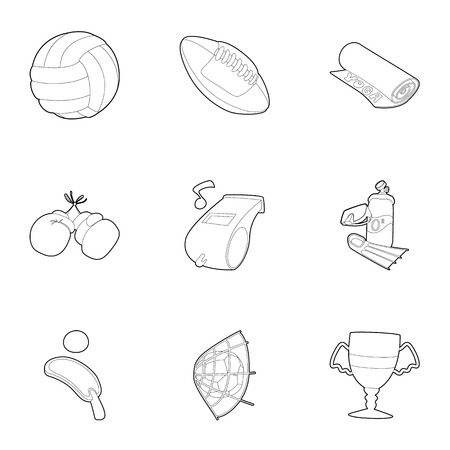 kingpin: Sport equipment icons set, outline style