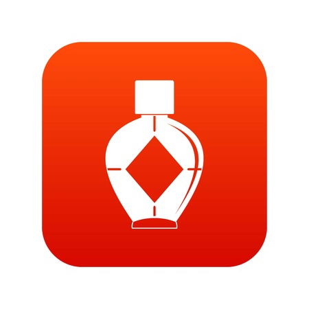 Light bottle of female perfume icon digital red