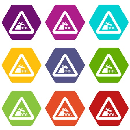Riverbank traffic sign icon set color hexahedron