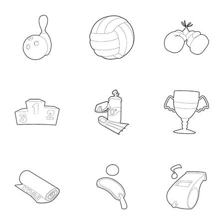 kingpin: Sport things icons set, outline style