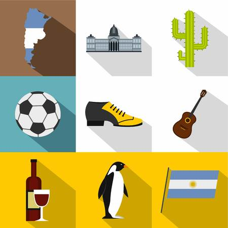 Argentina travel icon set, flat style Illustration