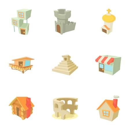 small business: City sight icons set, cartoon style