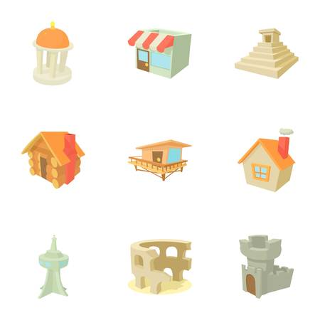 Parts of city icons set, cartoon style