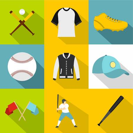 Baseball tournament icon set, flat style Illustration